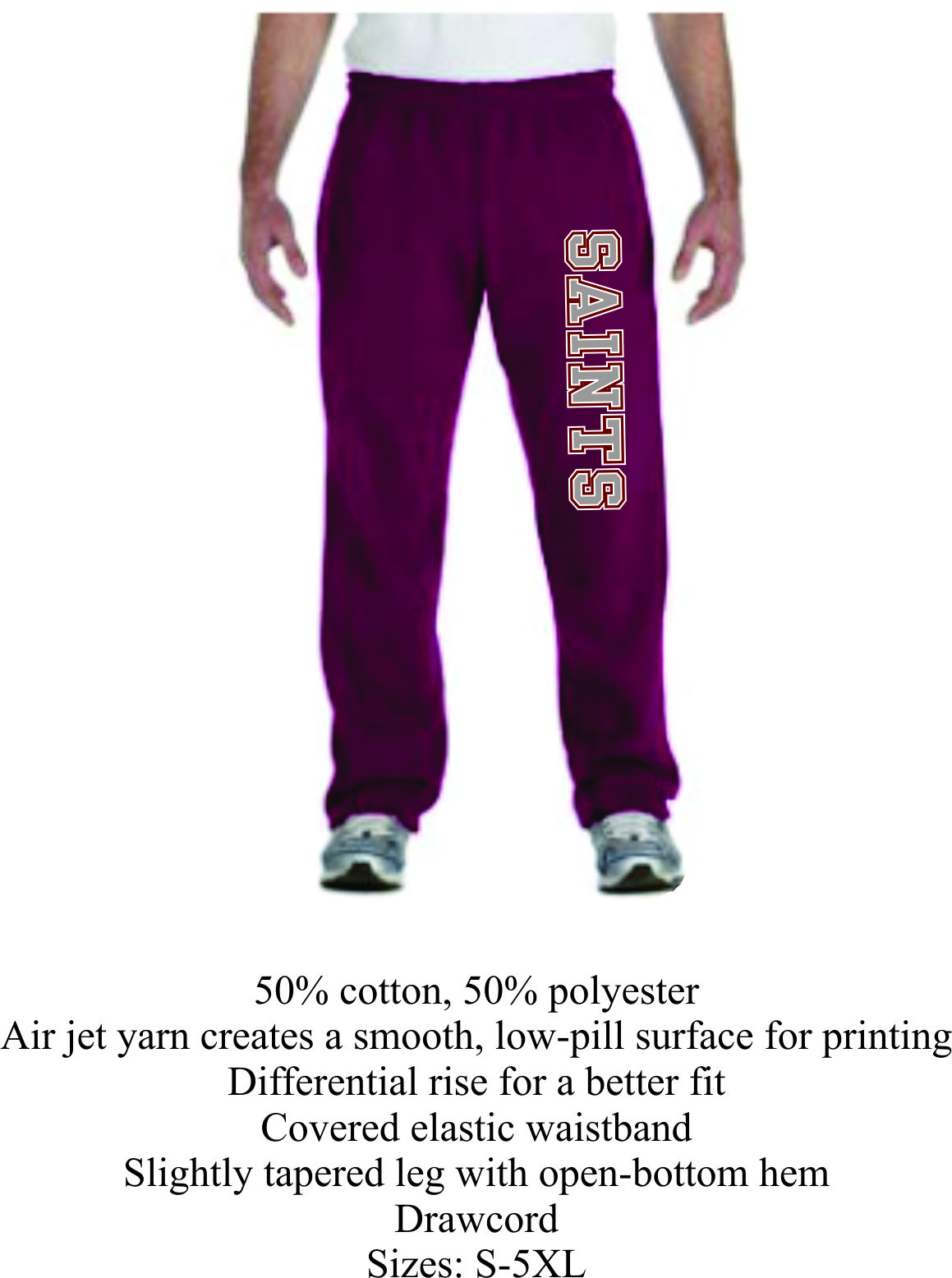 Maroon Open Bottom Sweat Pants Unisex w/ Saints Logo