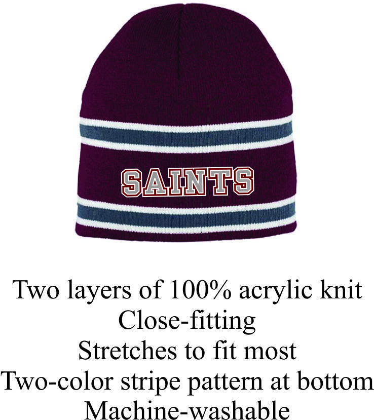 Maroon and Gray Striped Beanie w/ Saints Logo