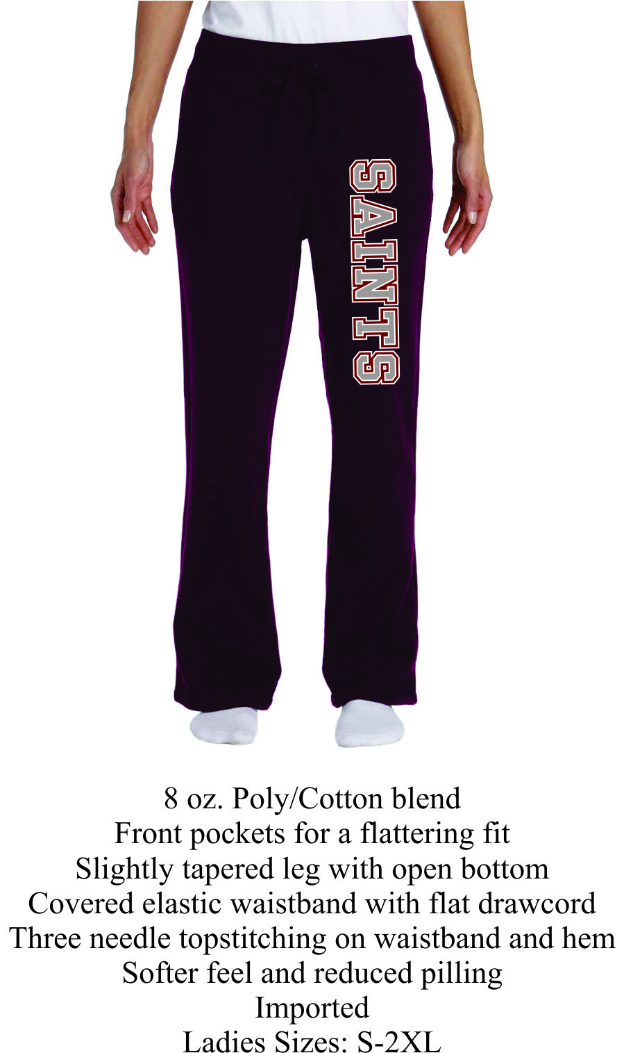 Maroon Open Bottom Sweat Pants Ladies w/ Saints Logo