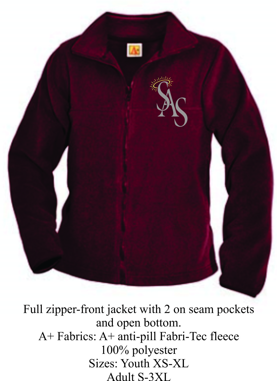 Full Zipper Gray/Maroon Fleece Jacket w/ SAS Logo
