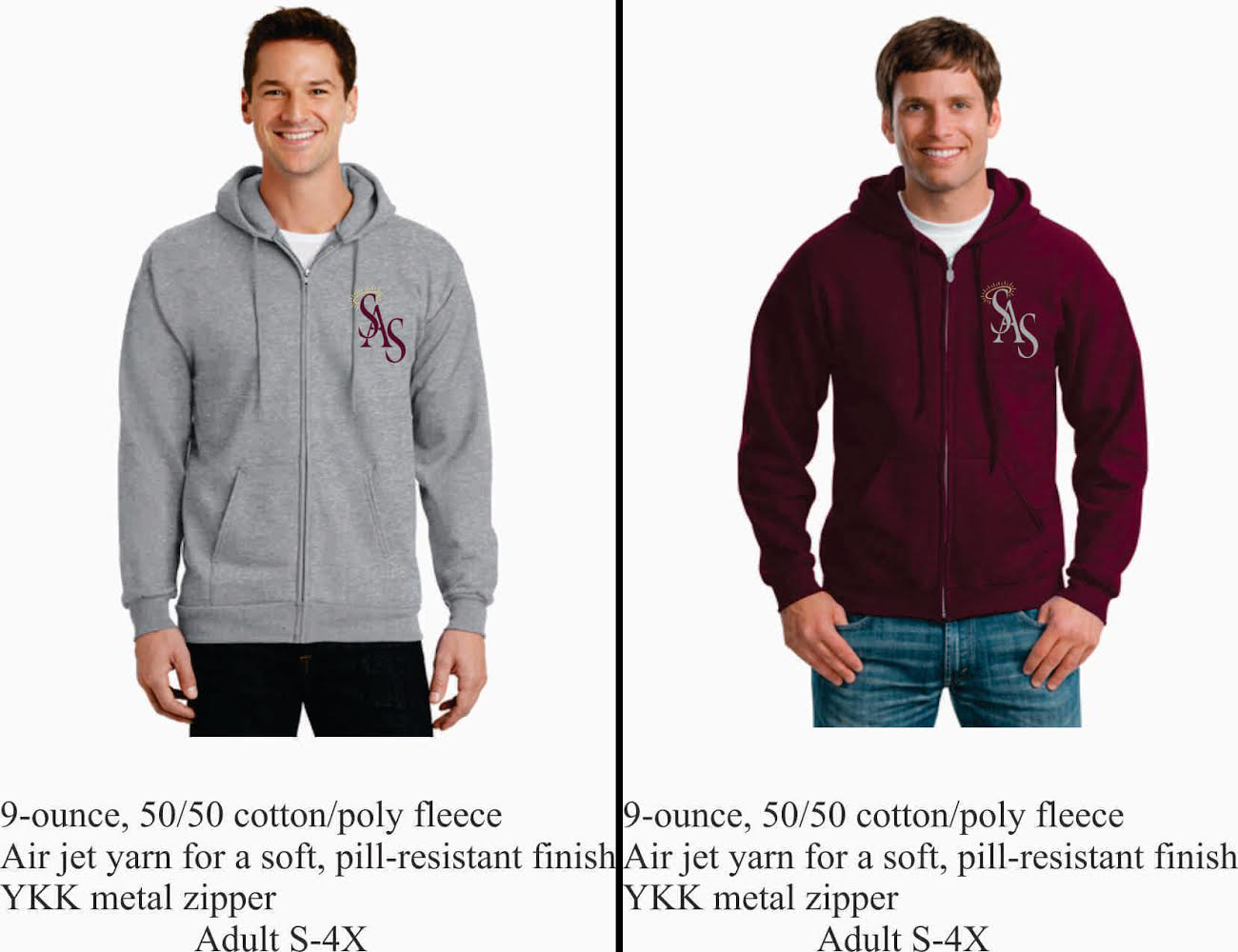 Adult Zipper Hoodie Maroon or Gray w/ SAS Logo