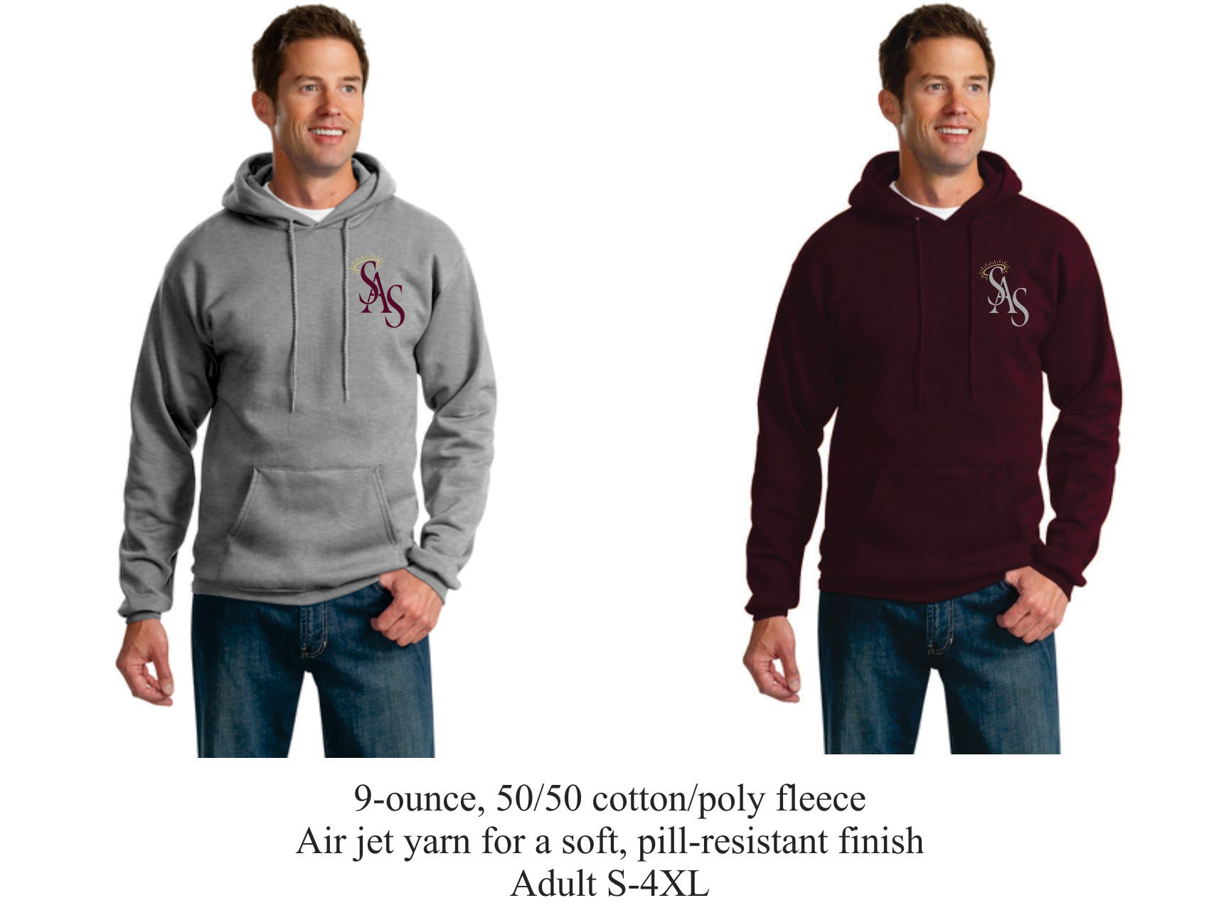 Hooded Sweatshirt Maroon or Gray w/ SAS Logo
