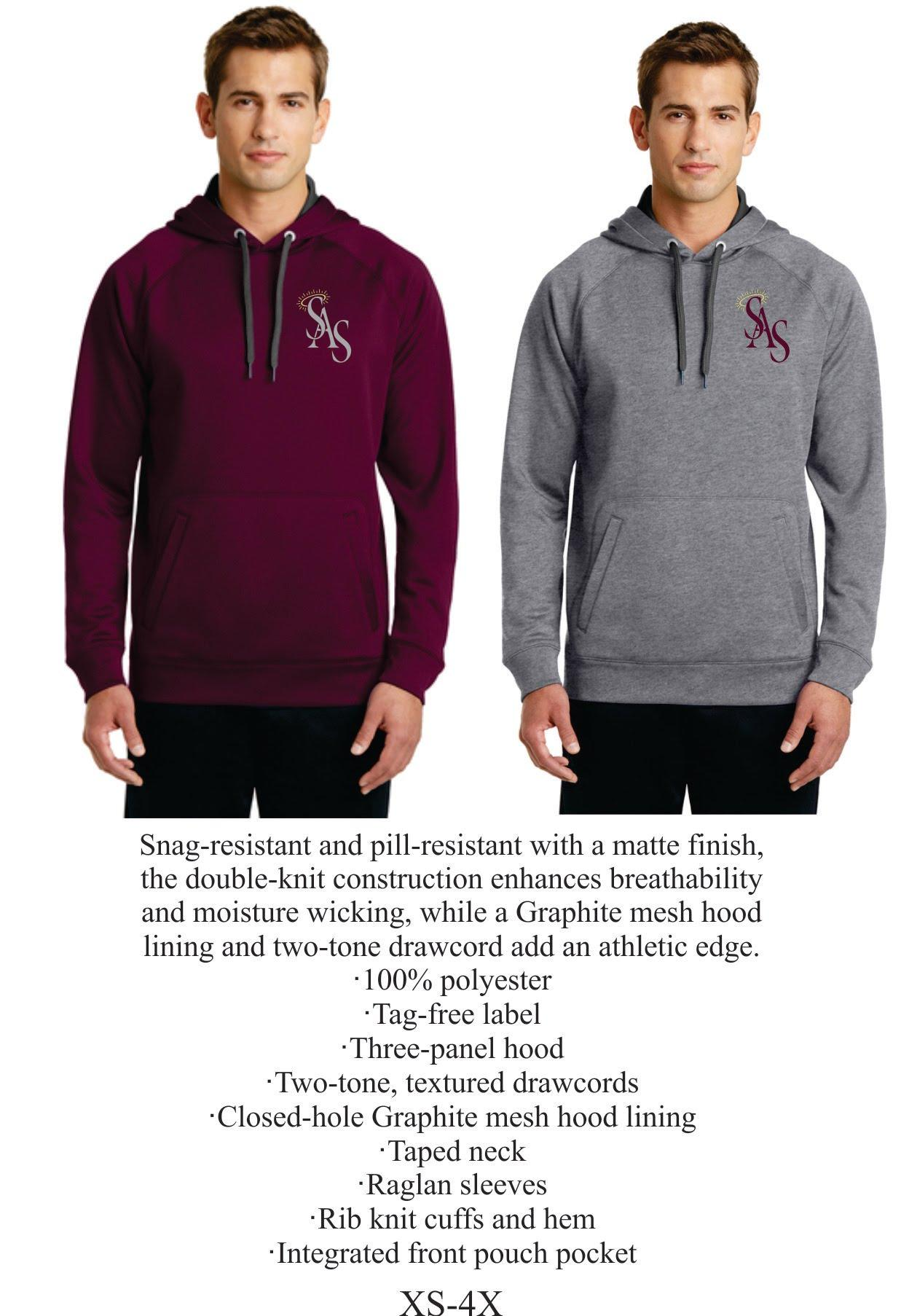 Hooded Sweatshirt Maroon or Gray 100% Polyester w/ SAS Logo