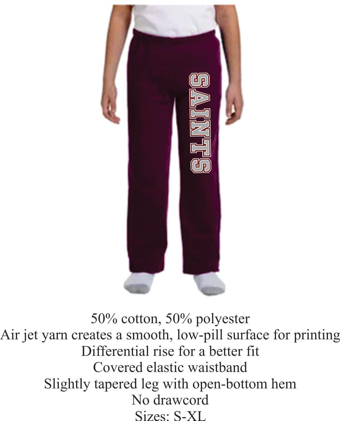 Youth Maroon Open Bottom Sweat Pants Unisex w/ Saints Logo