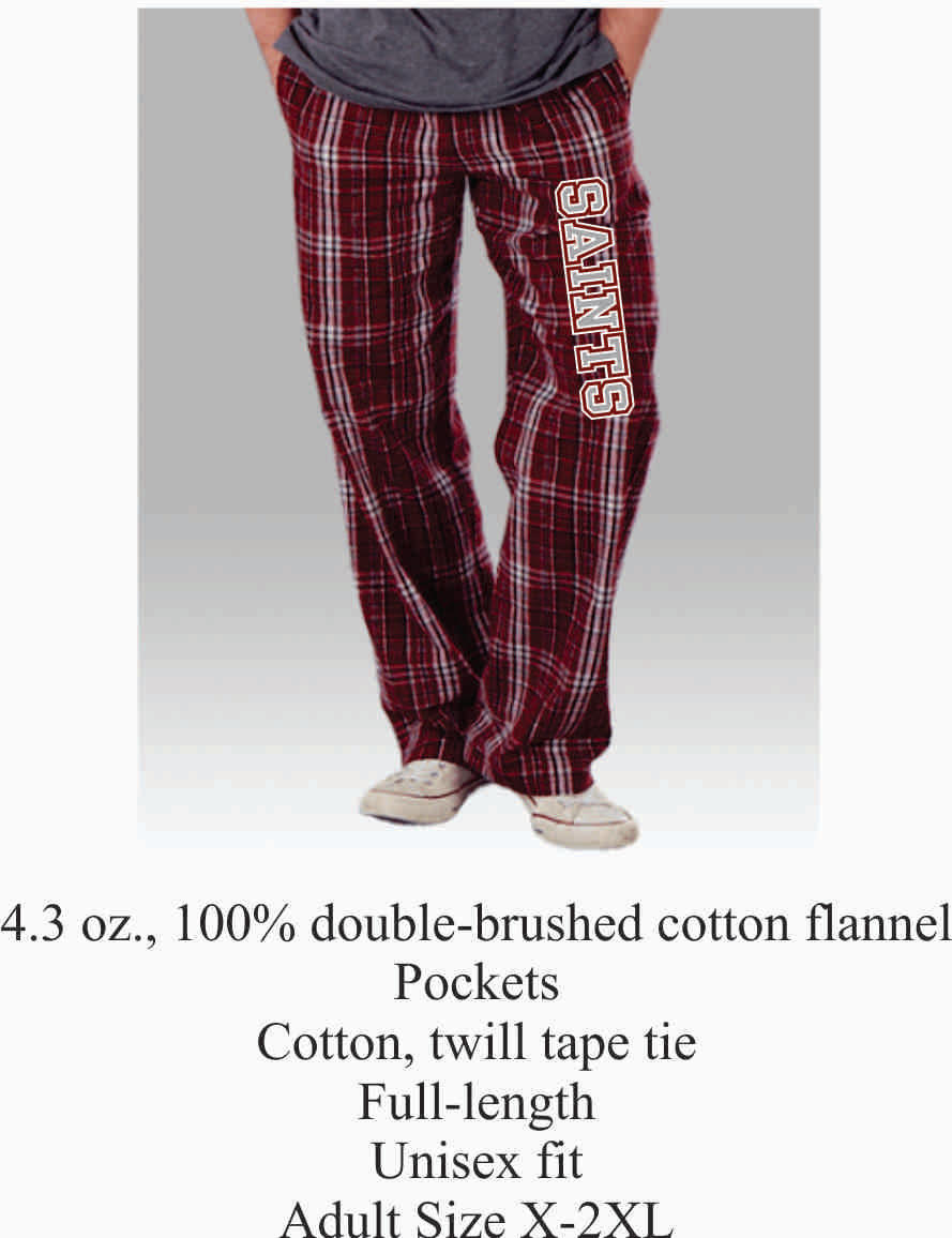 Flannel Pajama Pants Maroon w/ Saints Logo