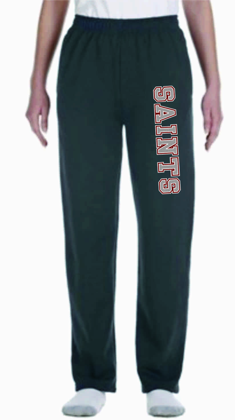 Gray Open Bottom Sweat Pants Unisex w/ Saints Logo