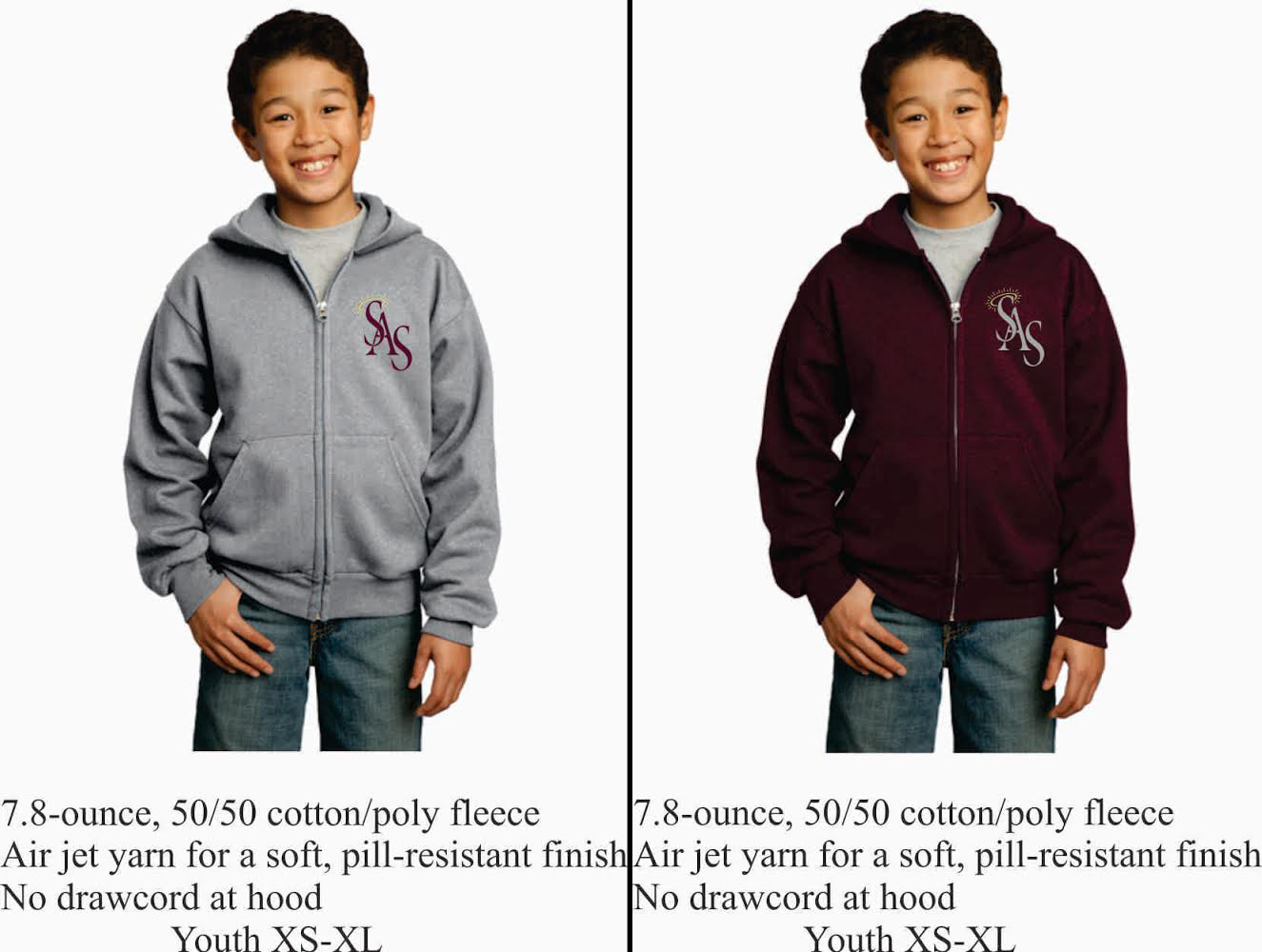 Youth Zipper Hoodie Maroon or Gray w/ SAS Logo